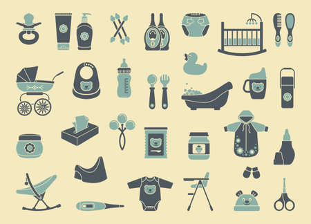 art product: Icons of products for newborns