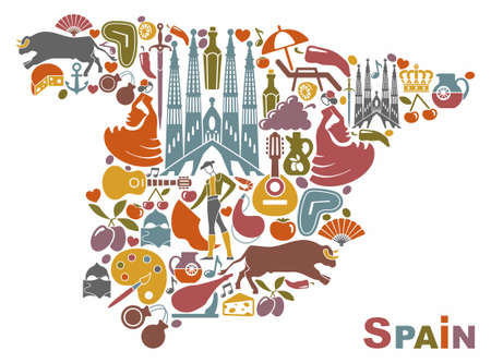 spanish bull: Traditional symbols of Spain in the form of a map