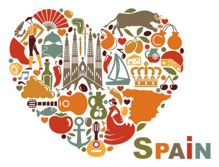 Die Symbole von Spanien in Herzform