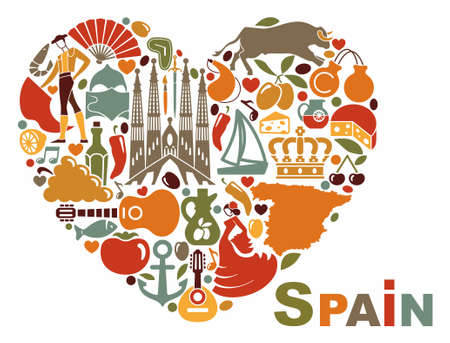barcelona spain: The symbols of Spain in heart shape Illustration