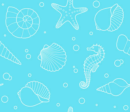 sea shell: Seamless background with marine life