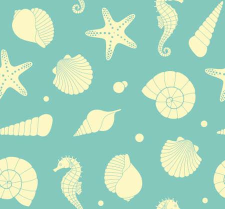 marine: Seamless background with marine life