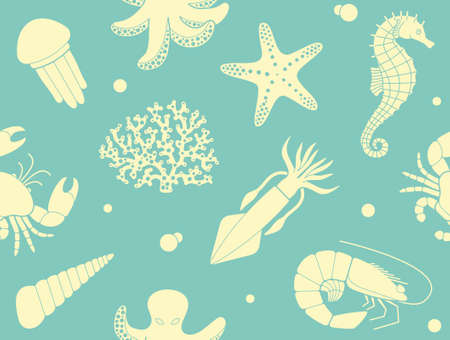 inhabitants: Seamless background with sea life Illustration