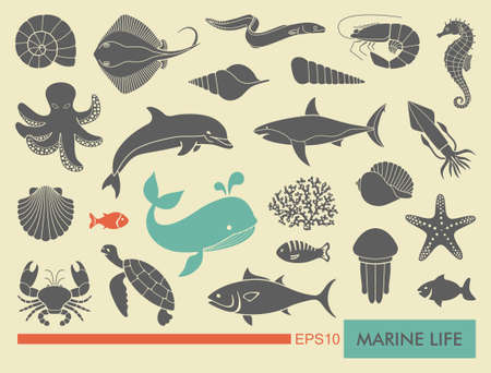 and marine life: Marine life icons