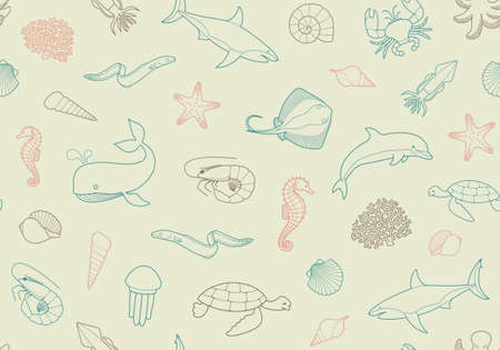 and marine life: Seamless marine backgroundSeamless pattern with fish and marine life Illustration