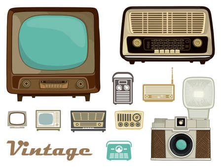 televisions: Televisions, radios and a camera in retro style