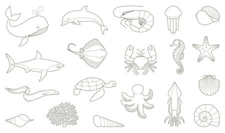 sea creatures: The outlines of fish and other sea creatures. Vector illustration Illustration