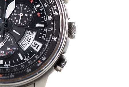 time zone: Detailed view on time zone displayed on watch Stock Photo