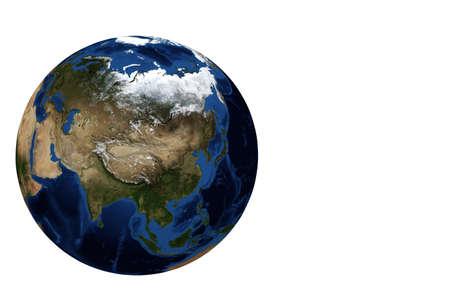 Whole earth globe view main focus on Asia