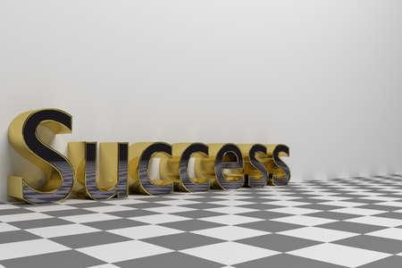 Succes formulering illustratie gemaakt met glanzende gouden letters