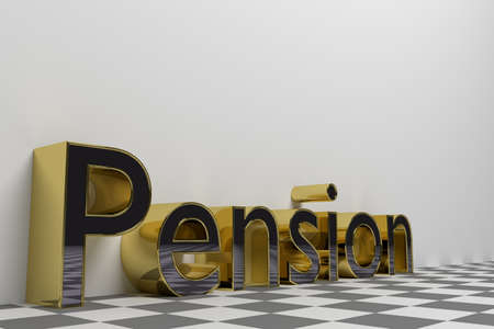 rendered: Pension gold rendered illustration with white background Stock Photo