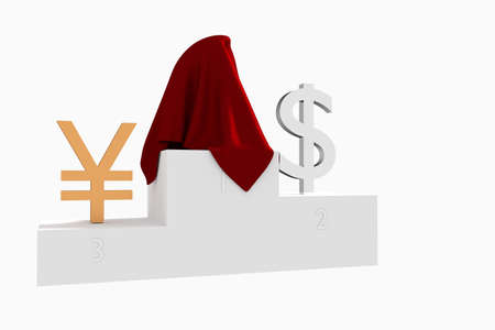 Hidden currency winner colored Dollar and Yen under red cloth 3D rendered illustration Stock Photo