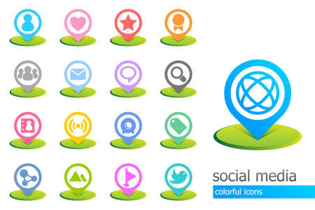 Colorful social media icons Stock Vector - 9867955