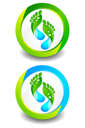 Eco Footprint Button Stock Vector - 9867954
