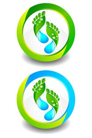 eco logo: Eco Footprint Button Illustration