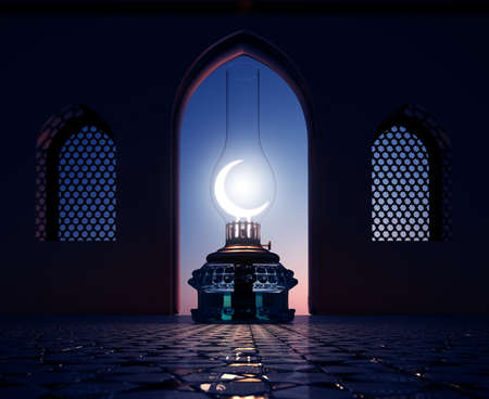 islam moon: 3D render of a lantern with windows  Stock Photo