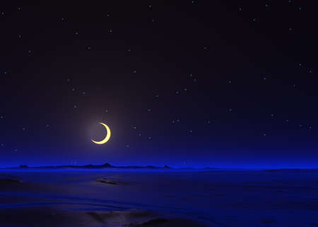 crescent moon: Crescent Moon 3D render scene Stock Photo