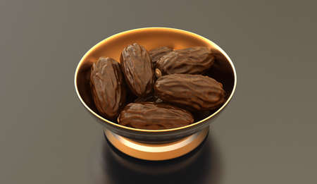 3D render of dates in a bowl Stock Photo - 14324157