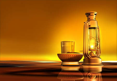 brass lamps: 3D render of a lantern, dates and water
