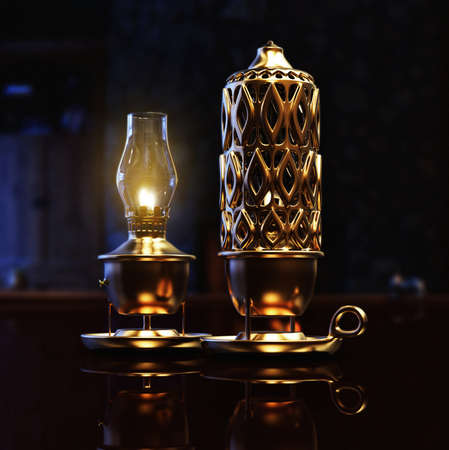 ramadan: 3D render of a gas lantern