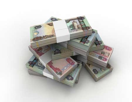 3D stack of 100, 500, 1000 UAE bills  Stock Photo