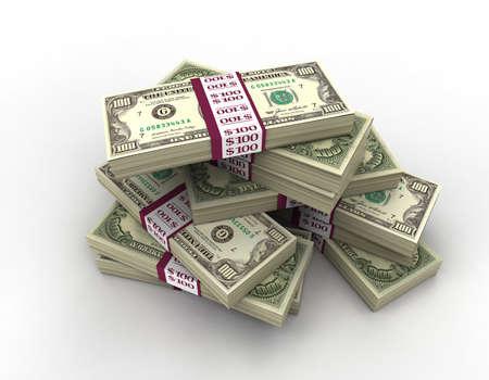 US Dollar Notes 3D Render B