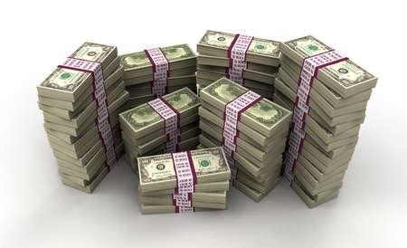US Dollar Notes 3D Render A
