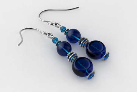 Blue Earrings 3D Render