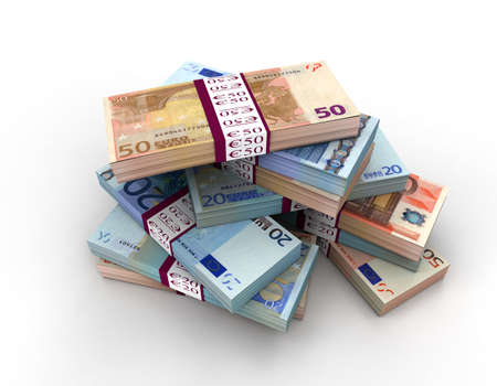 euro notes: Euro Notes Stack 3D Render