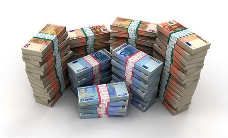 Euro Notes Stack 3D Render