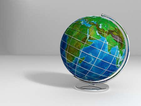 render: Globe Shot 3D Render Stock Photo