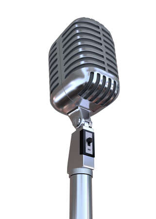 Chrome Microphone 3D Render Stock Photo - 62185675