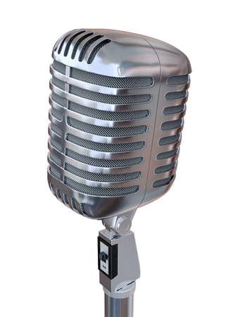 Chrome Microphone 3D Render