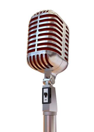 Golden Microphone 3D Render