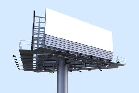 Empty Billboard Perspective 3D Render Stock Photo