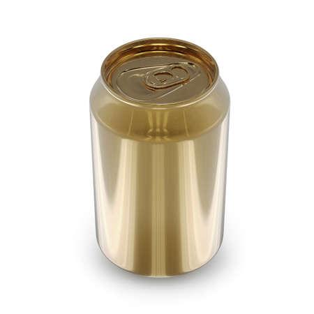 render: Golden Can 3D Render Stock Photo
