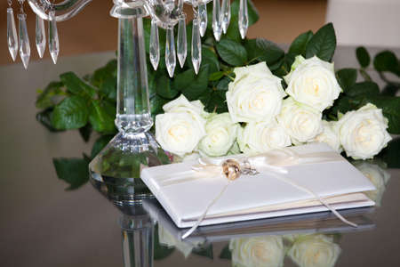 Wedding or event guest book with hearts on a table photo