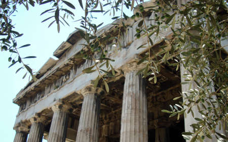 Olives and Ancient Temple in Athens photo