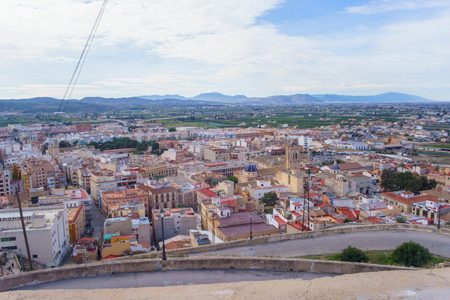 Orihuela, Spain - February 10, 2018: Panoramic view of the city of Orihuela from the seminar