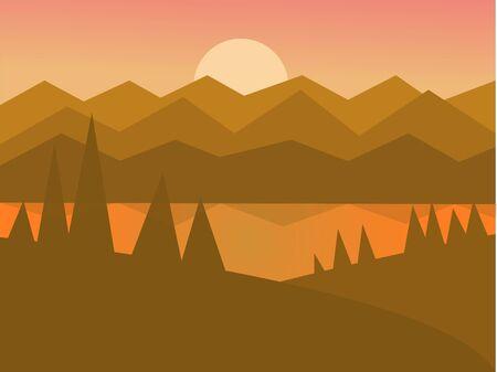 Ilustración de vector de paisaje puesta de sol plana