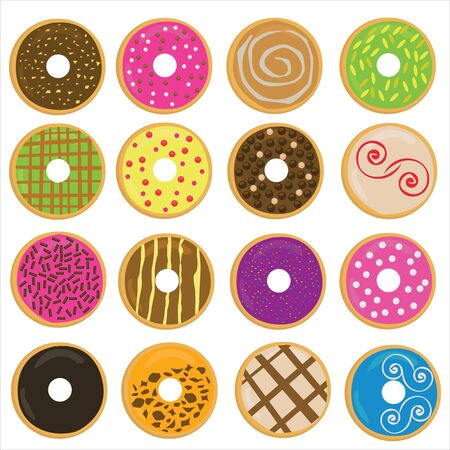 Colorful donuts can be used for food menu, decoration, picture on the packing, etc.