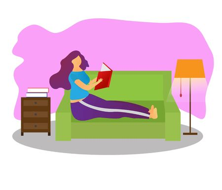 A woman who is reading vector illustration