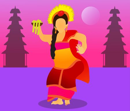 Pendet Dance Vector Design Illustration. Pendet dance is a dance originating from Bali, Indonesia