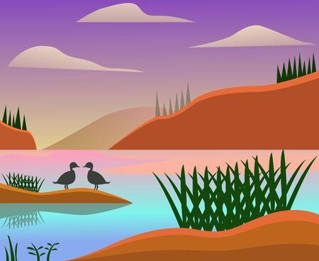 River flat landscape design. Landscape background design. Wallpaper design.