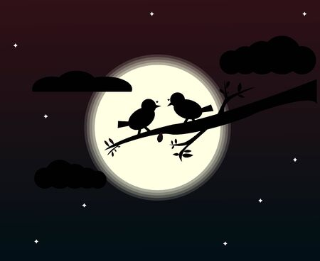 A couple of birds illustration design. A couple of birds perched on a tree branch in the moonlight