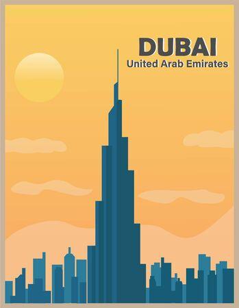 Illustration vector design of retro and vintage poster of Dubai