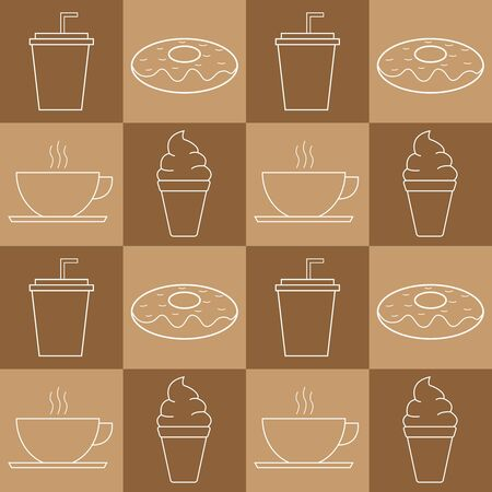 Illustration vector design of donuts, plastic glass, ice cream, coffee make a pattern. Good to place as food court background, packaging design, cafe, restaurant, etc. Ilustracja