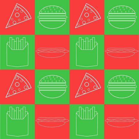 Illustration vector design of burger, pizza, french fries and hotdog in pattern design. Fit to put on packaging, Italian cafe, Italian restaurant, food court, traveling merchandise, etc. Ilustracja