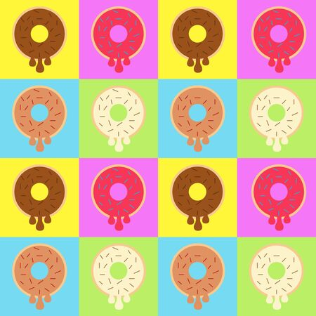 Illustration vector design of variant donuts make a pattern. Good to place as cafe or food court wallpaper.