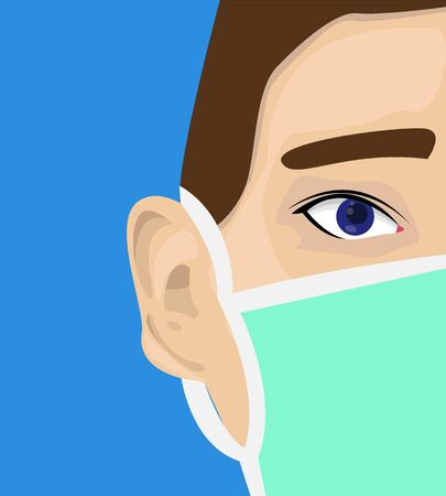 Illustration vector design of half the face of a man using medical mask for protecting himself Illustration